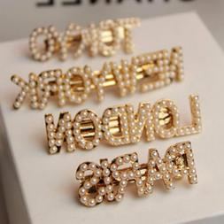 Elegant Pearl Barrettes Hair Clips Hairpin City Letter Headd