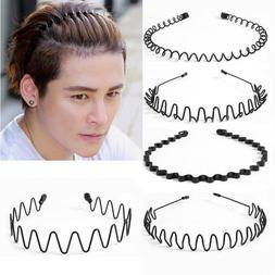 Fashion Black Metal Waved Style Alice Sports Hairband Solid