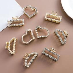 Fashion Women Pearl Crystal Rhinestone Hairpins Hair Claw Ha