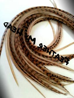 Feather Extension For Hair,  Whiting Eurohackle, Fawn, Long