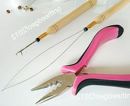 Feather Hair Extension Pliers Tool KIT for Micro Beads Loop/