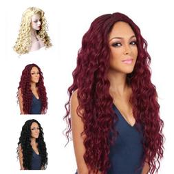 Full Wig Long Curly Straight Synthetic Blonde Wigs Hair W/ C