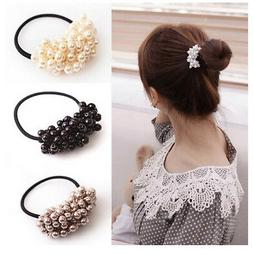 Hair Accessories Pearl Elastic Rubber Bands For Women Girl P