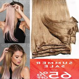 Hair Extensions Real Remy 8PCS Clip In 100% Human Weft Long
