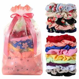 Hair Scrunchies Cotton Elastic Bands 15 Pcs  for Hair Access