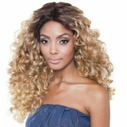 ATOZ Hair Wig Long Kinky Curly Long Ombre Blonde/Brown Full