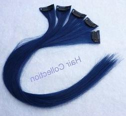 Hair Collection-18 Blue 100% Human Hair Clip in on Extension
