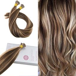 Moresoo Itip Colored Hair Extensions #4 Highlights with #27