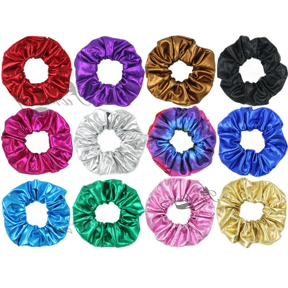1 faux leather shiny hair scrunchies ponytail