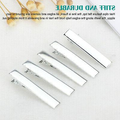 100/200x Hair Clips Silver For Bows Barrette 45mm/1.77