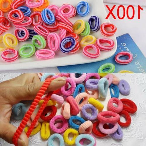 100PCS Ties Rubber Band Baby Girls Ponytail Holder