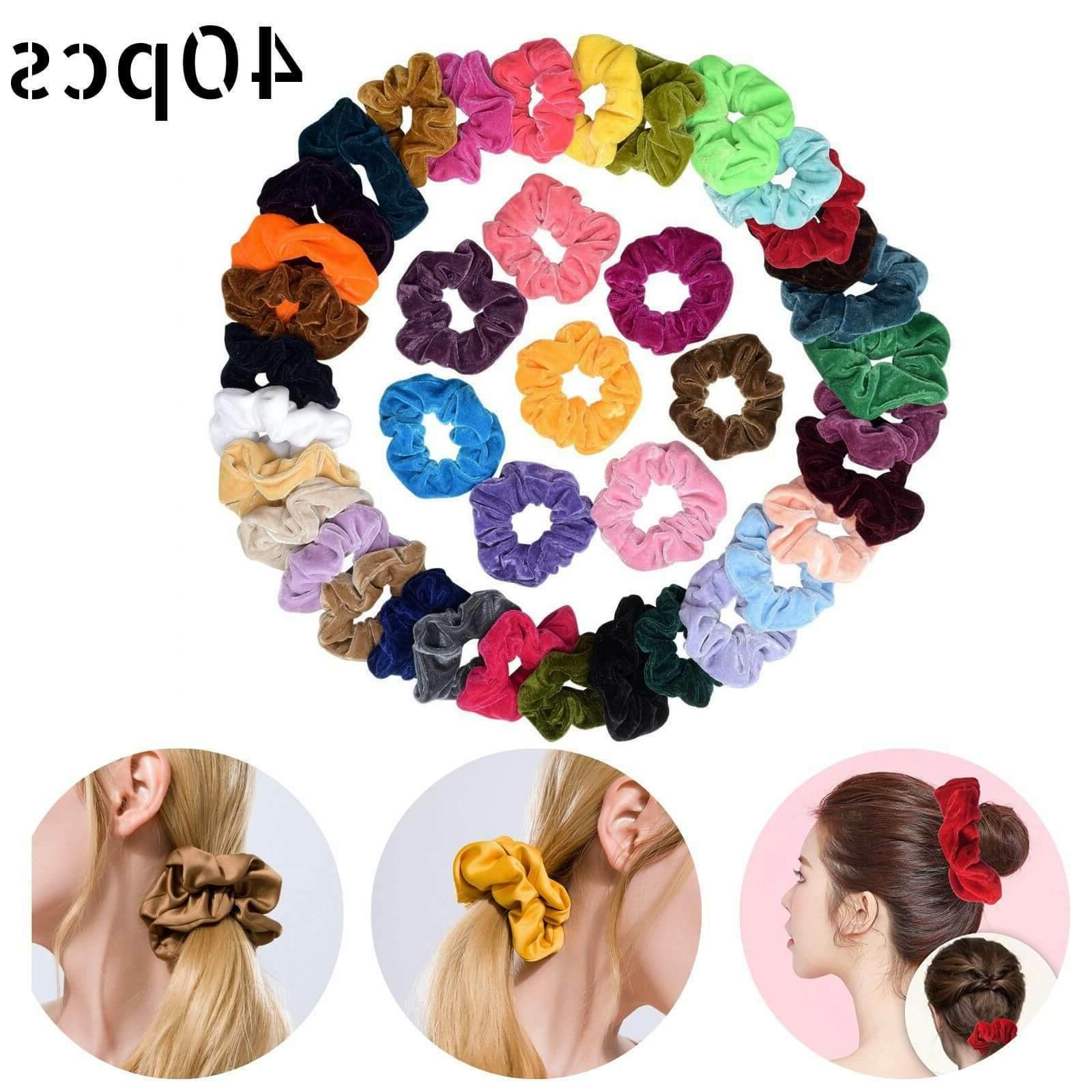 40Pcs Colorful Velvet Hair Band Scrunchies Set Elastic Bobbl