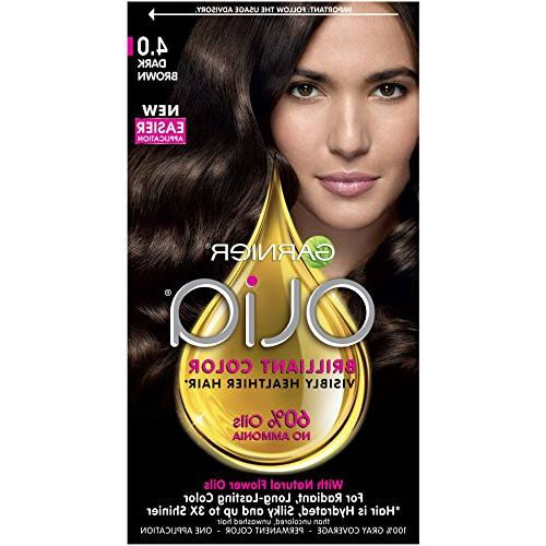 Garnier Olia Hair Color, 4.0 Dark Brown, Ammonia Free Perman
