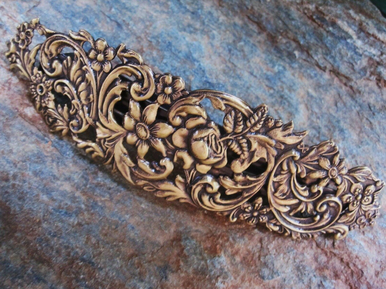 Large Antiqued Gold Brass for Thick Hair Barrette 4 5/8 Wide