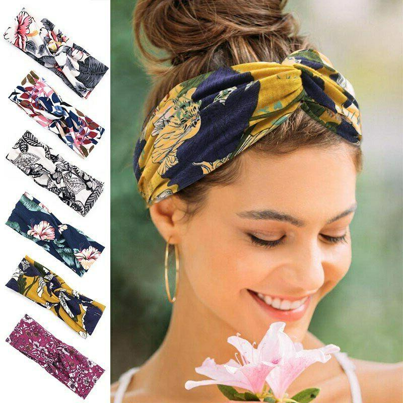 flower print lady women headband elastic hair