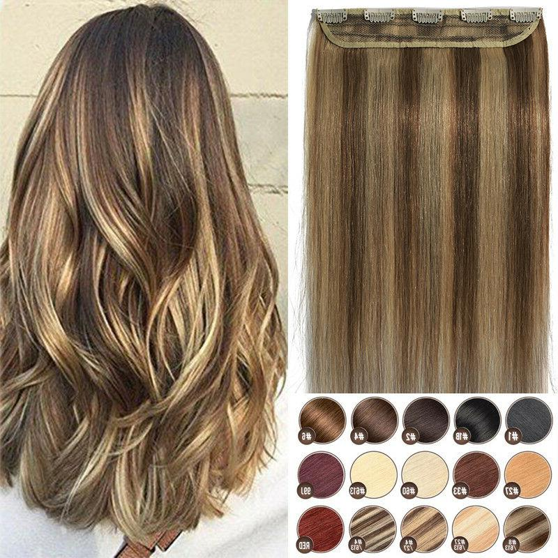 Invisible Clip in One Piece THICK Remy Human Hair Extensions