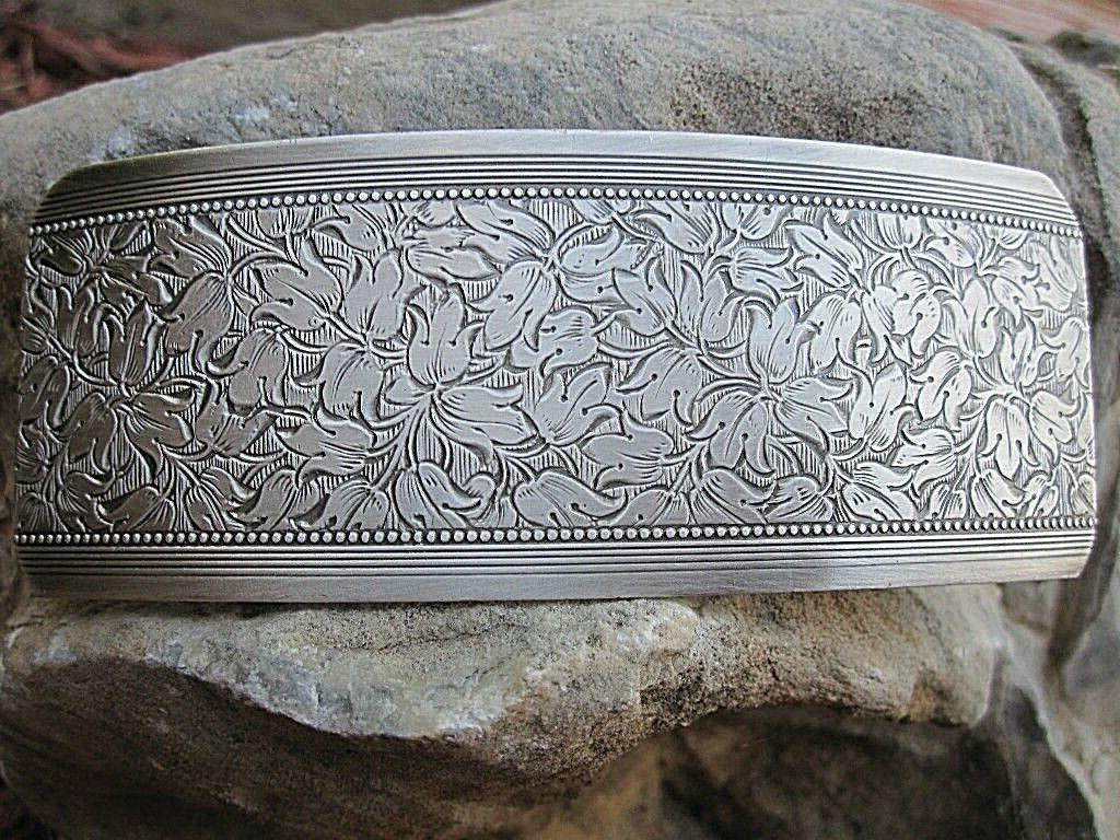 large antiqued silver plated brass hair barrette