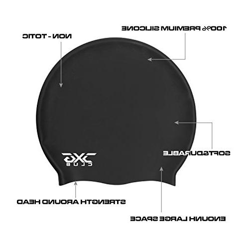 CXGCLUBE Large Long Hair Cap,Waterproof Silicone Bathing & Swimming Pool Caps,Designed for and Men Hair Clean