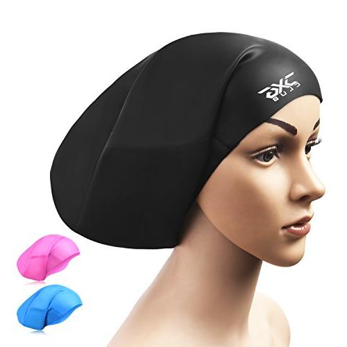 CXGCLUBE Large Hair Cap,Waterproof Bathing Swimming Caps,Designed Women and Men with Afro Braided Hair