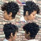Women Short Black Brown FrontCurly Hairstyle Synthetic Hair