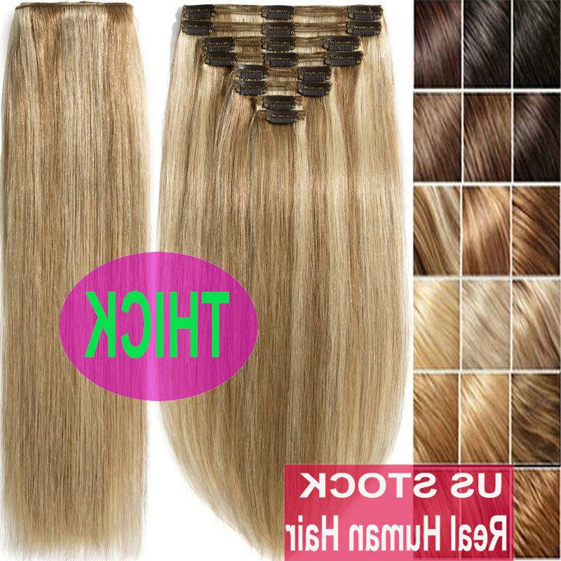 Thick Double Weft Clip In Real Remy Human Hair Extensions Fu