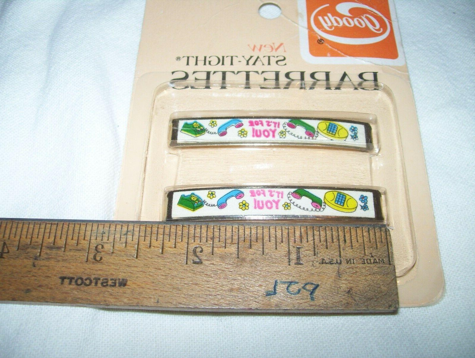 Vintage GOODY Hair Barrettes Pack - You ! Phone Telephone