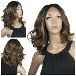 Lace Front Wig Human Hair Blend Brown Color #4 #27 #30 Short