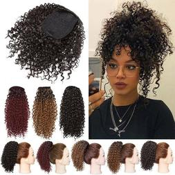 Large Kinky Curly Drawstring Ponytail One Piece Clip In Hair
