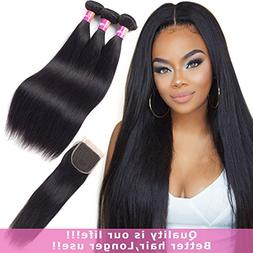 Malaysian hair with closure 10A remy hair with closure strai