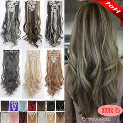 Mega Thick Real Natural as human Hair 8Pcs Full Head Clip In