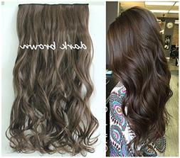 One Piece Wavy Curly Half Head Clip in Hair Extensions Solid