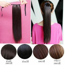 """OneDor 23"""" Straight Wrap Around Synthetic Hair Ponytail Exte"""