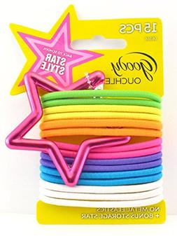 Goody Ouchless Ponytail Hair Elastics - Pink Star - 15 Pk.