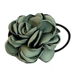 Women Ponytail Holder Hair Ties with Fabric Camellia Flower