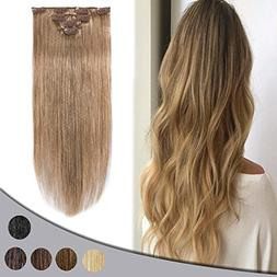 """Remy Clip in Hair Extensions 14"""" 4pcs Real Double Drawn Huma"""