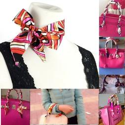 Satin Twilly Narrow Long Scarf, For Neck, Hair and Purse Han