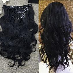 "Full Shine 14"" 7 Pcs 100g Body Wave Wavy Clip In Hair Extens"