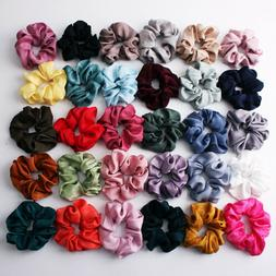 Soft Silky Satin Solid Hair Scrunchies Elastic Hair Bands Po