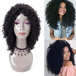 Liyate Synthetic Hair Wigs Kinky Curly 18 inch Natural Black