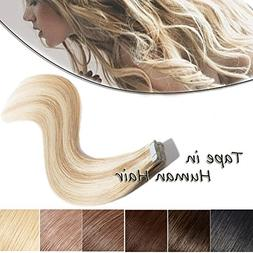 Tape in Human Hair Extensions 20 Inch Ash Blonde Mixed Bleac
