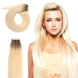 """20"""" Tape in Human Hair Extensions 50g Rooted Real Remy Seaml"""