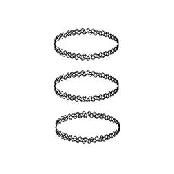 3 Pack Tattoo Choker Necklaces Black Gothic Stretch Elastic