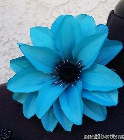 TURQUOISE FLOWER HAIR CLIP FOR MEXICAN FIESTA, 5 DE MAYO,WED