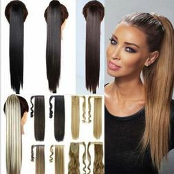 US Real Thick Hair Wrap Around Ponytail 1Pc Clip In Pony Tai