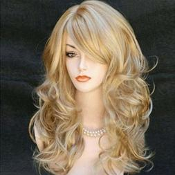 Wigs for women with Bangs Long Curvy Blonde Balayage Red Bla