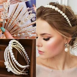 Women Elegant Big Pearl Headband Girls Crystal Hairband Hair