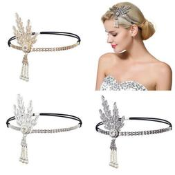 Women Hair Headpiece 1920s Flapper Pearl Headband Great Gats