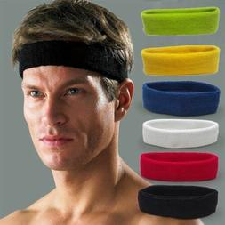 Women/Men Cotton Sweat Sweatband Headband Yoga Gym Stretch H