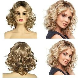 Women Short Blonde Curly Heat Resistant Fluffy Cosplay Party