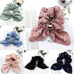 Women Simple Satin Ribbon Bow Hair Rope Ponytail Holder for